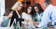students doing lab experiment