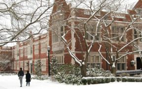 college campus in winter