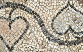 Ancient Greek mosaic detail with heart shaped floral pattern. Archaeological site of Kerameikos northwest of the Acropolis.